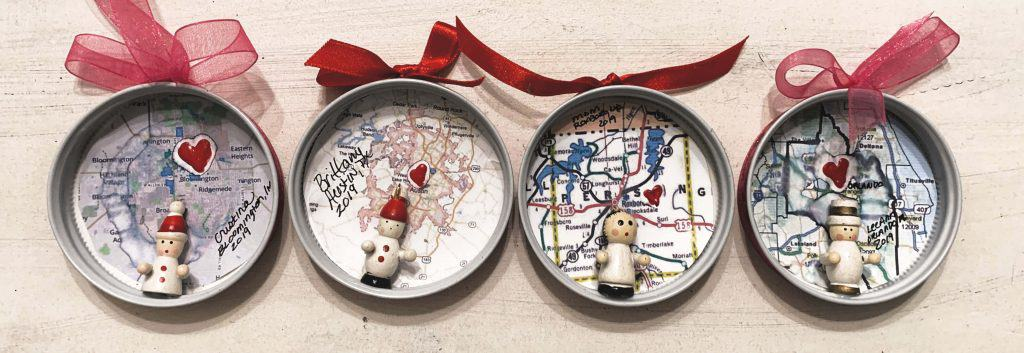 Mason Jar lid Map Ornaments