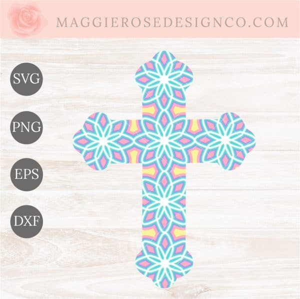 Layered Mandala Cross SVG for Cricut or Silhouette