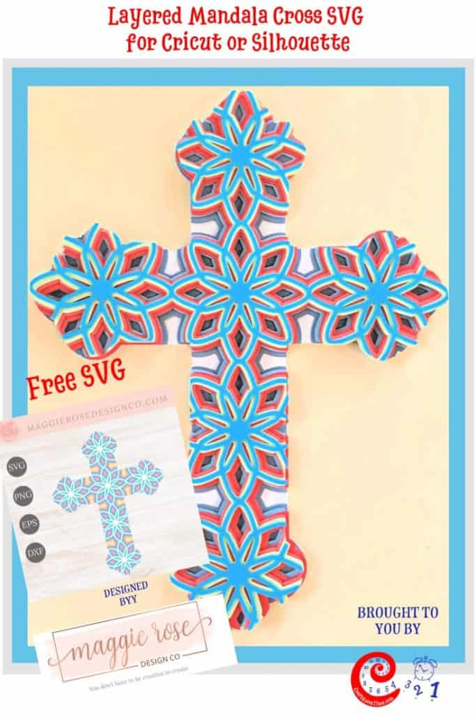 Layered Mandala Cross SVG for Cricut