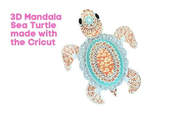 3D Mandala Sea Turtle made with the Cricut