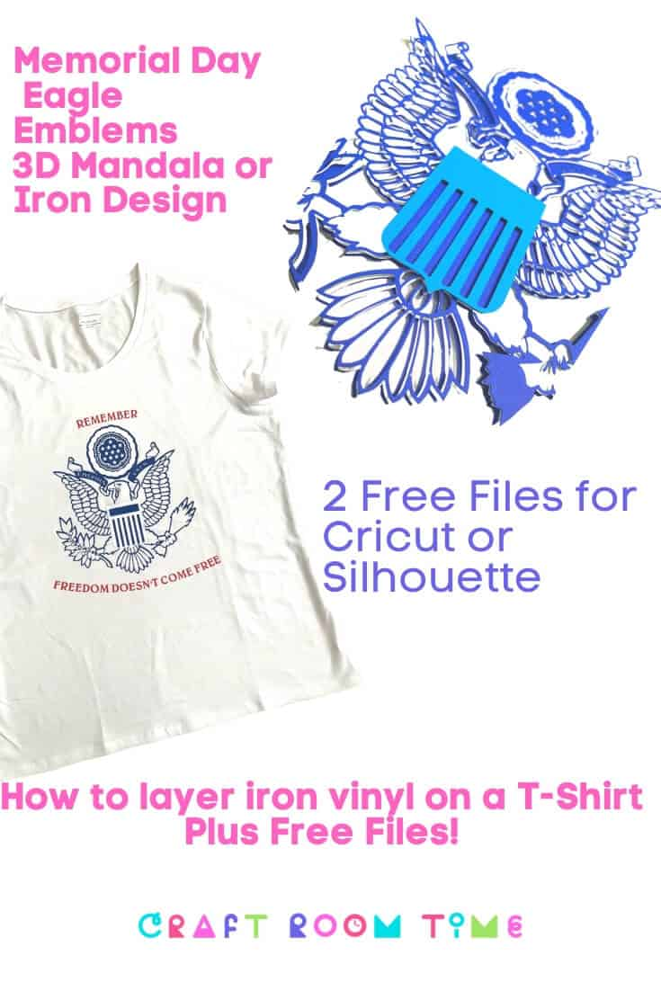 Memorial Day Eagle Emblem 3D Mandala or Iron On Design