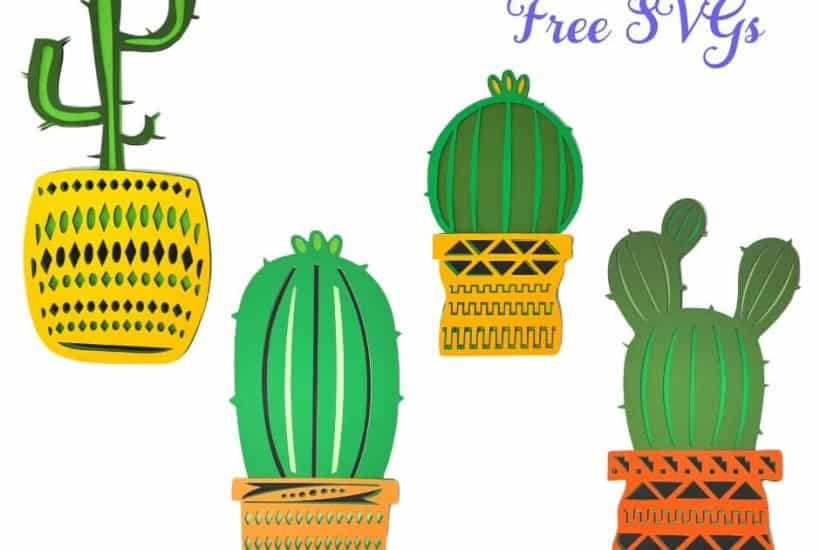 Potted Cactus Plants Free Layered Mandala SVGs