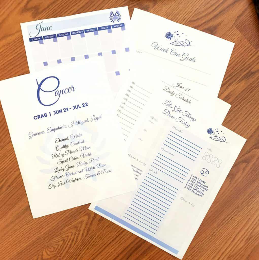 Cancer Season Zodiac Printable Planner