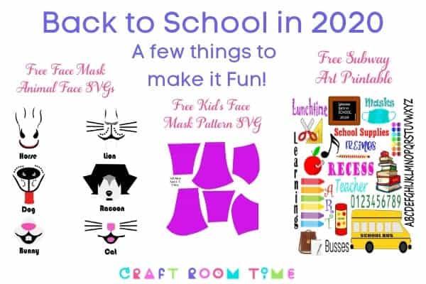 DIY Back to School Masks for Kids Free SVGs