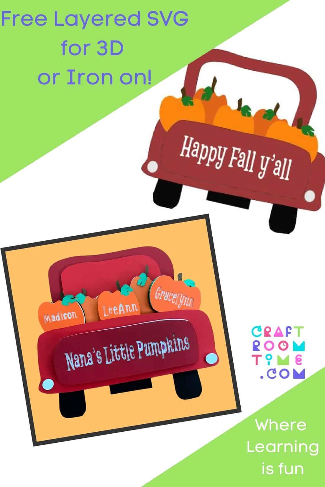 Little Pumpkins Truck Free SVG