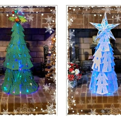 Elegant 3D Light Up Paper Christmas Tree
