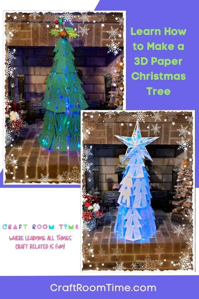 Elegant 3D Light Up Paper Christmas Tree
