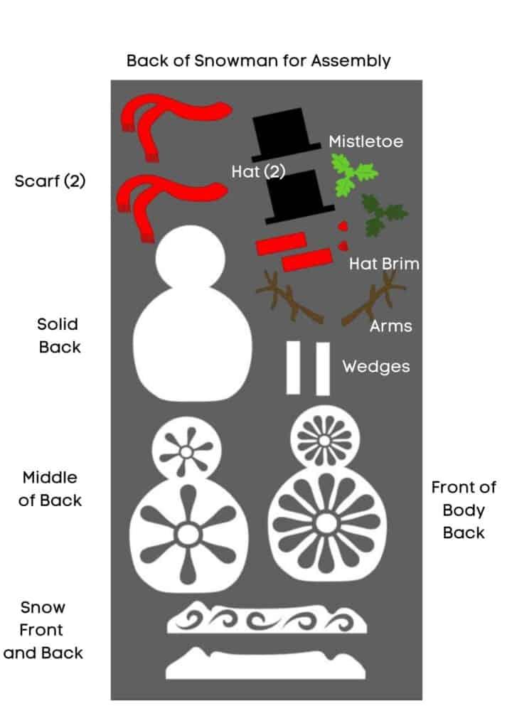 3D Standing Layered Snowman Free SVG
