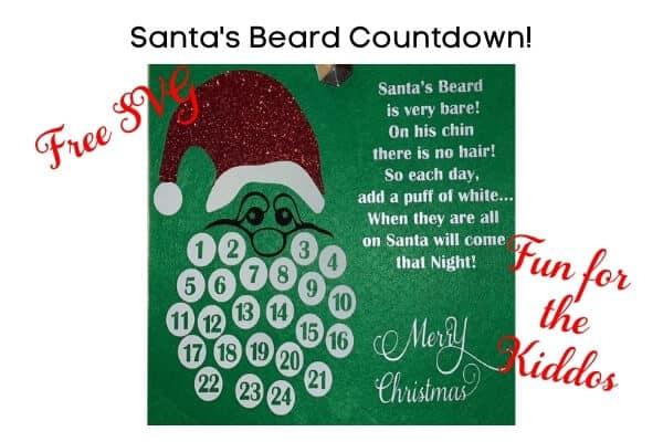Santa's Beard Christmas Countdown Free SVG