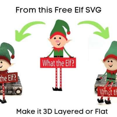 3D Sitting Christmas Elf Free SVG