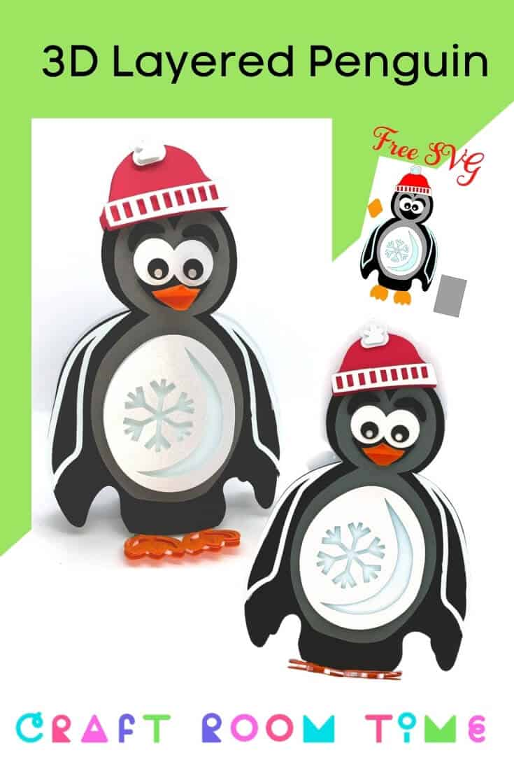 3d Layered Penguin Free SVG