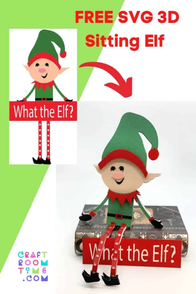 3D Sitting Christmas Elf Free SVG