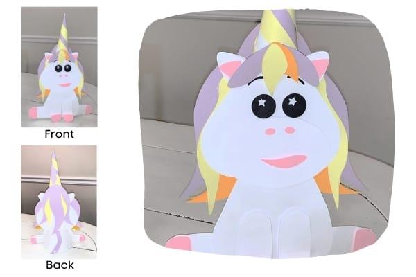 3D Standing paper Unicorn Free SVG