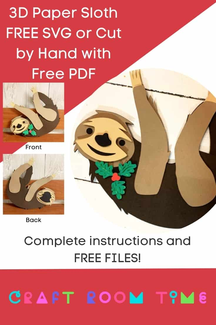 3D Paper Sloth Free SVG