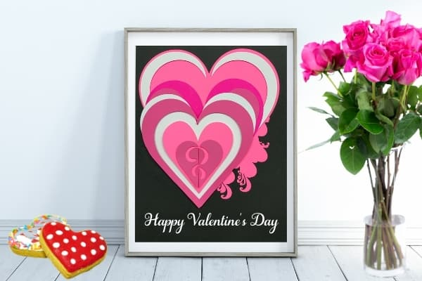 3D Layered Mandala Heart with Free SVG for Galentine's Day