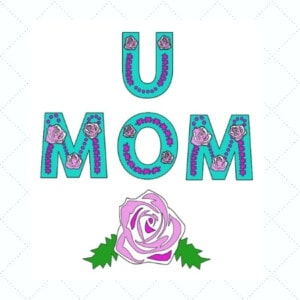3D Mom or Mum with Rose for Mother's Day