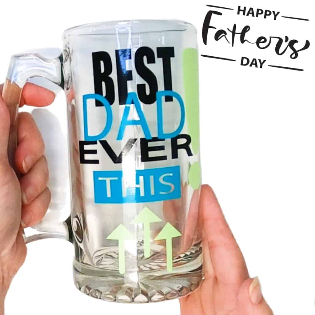 Vinyl on glass mug for Father's Day