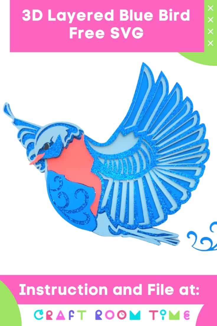 3D Layered Blue Bird with Free SVG