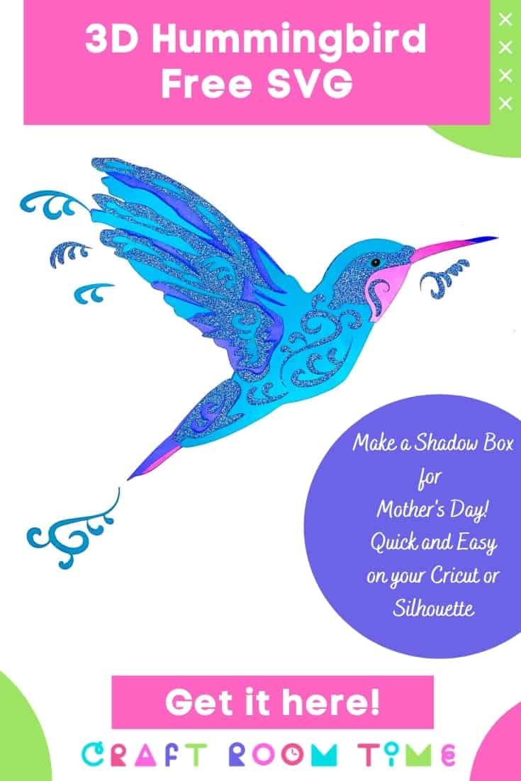3D hummingbird free svg